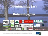 Företagsamma Bolmenbygden Projektutveckling 2010-2012