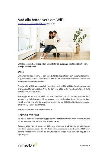 Vad alla borde veta om WiFi - omWLAN.se