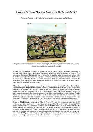 Programa Escolas de Bicicleta – Prefeitura de São Paulo / SP - 2012