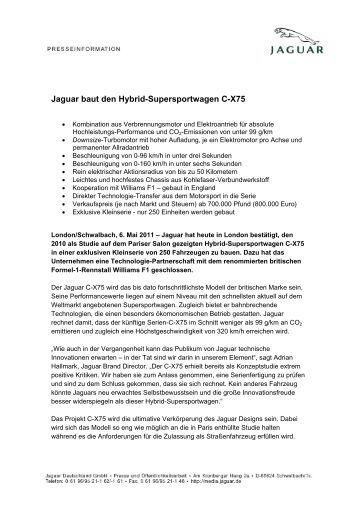 Jaguar baut den Hybrid-Supersportwagen C-X75 - Auto Sport ...