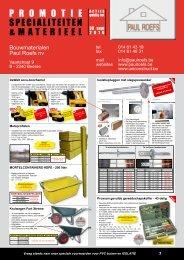 promotie specialiteiten &materieel - Bouwmaterialen Paul Roefs NV