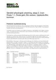 Särskild arkeologisk utredning, etapp 2, inom Önsta ... - Upplands-Bro