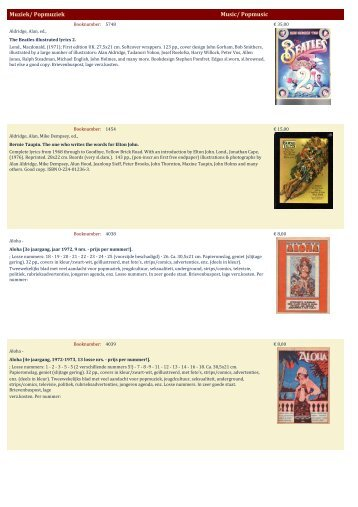 Muziek/ Popmuziek Music/ Popmusic - Antiquariaat Clio / Cliobook