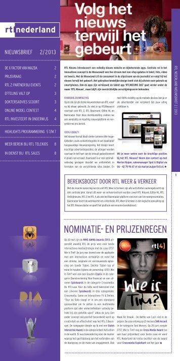 RTL Sales Nieuwsbrief nr 2. 2013 - Adverteren