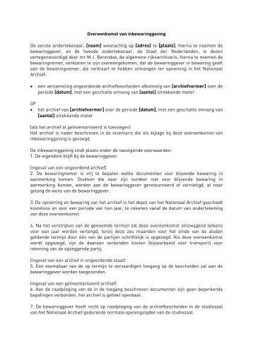 Overeenkomst van inbewaringgeving zonder ... - Nationaal Archief