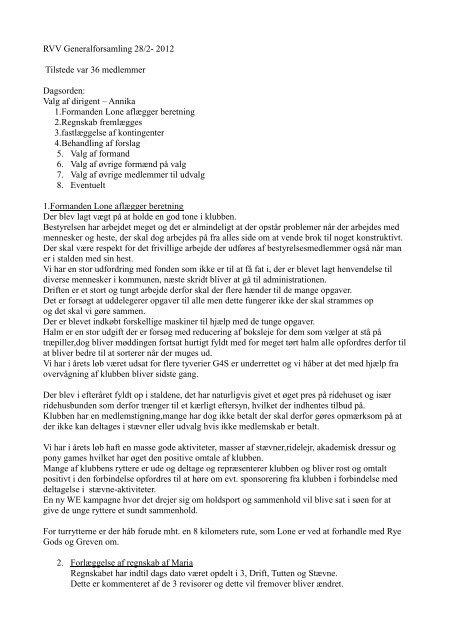Referat fra generalforsamling den 28. februar 2012 - Rideklubben ...