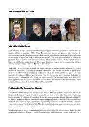 BIOGRAPHIES DES AUTEURS BIOGRAPHIES ... - Théâtre de Poche