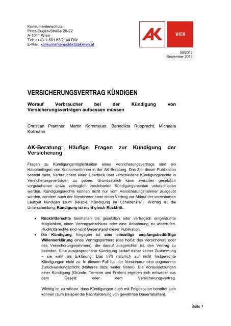 Publikation: Versicherungsvertrag kündigen - Arbeiterkammer