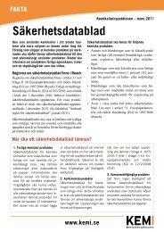 Faktablad om säkerhetsdatablad - Kemikalieinspektionen