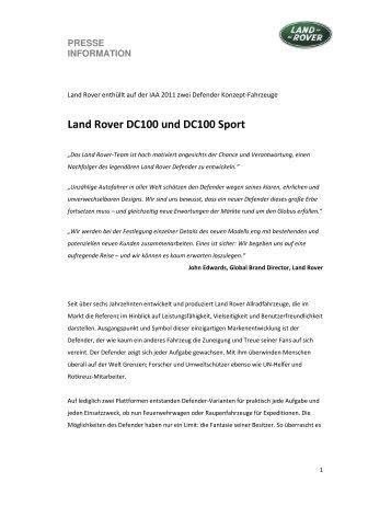 Land Rover DC100 und DC100 Sport - Auto Stahl
