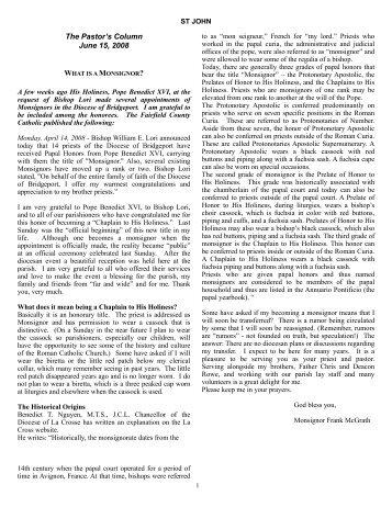 The Pastor's Column June 15, 2008 - St. John Parish