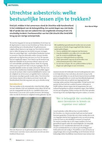 Utrechtse asbestcrisis: welke bestuurlijke lessen zijn te trekken ...