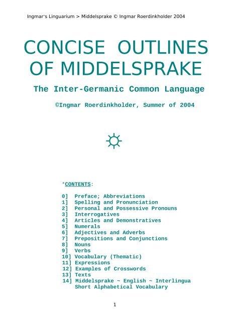 Concise outlines of Middelsprake.pdf - Folkspraak