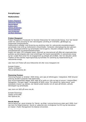 Energiklyngen Medlemsliste: Preben Maegaard ... - Lemvig Kommune