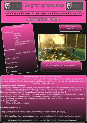 Click this to go to the PDF newsletter - The Pink Animal Clan