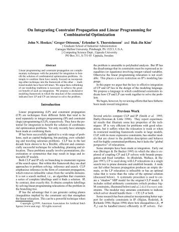 On Integrating Constraint Propagation and Linear Programming for ...