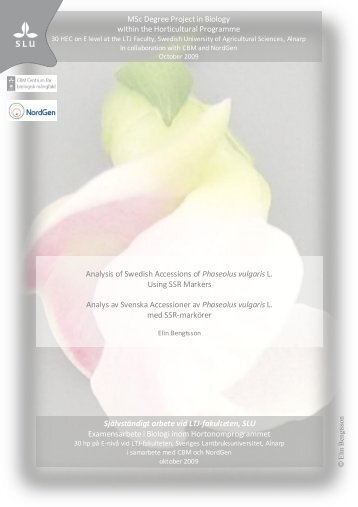 MSc Degree Project in Biology within the Horticultural ... - POM