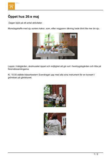 Öppet hus 26:e maj - Sveriges Hembygdsförbund