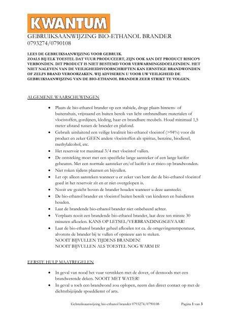 Kwantum Gordijnen Volgen.Gebruiksaanwijzing Bio Ethanol Brander 0793274 0790108 Kwantum