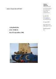 CEC FORCE - arbejdsulykke den 18. december ... - Søfartsstyrelsen