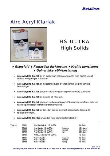 Airo Acryl Klarlak HS ULTRA High Solids - Metalinas