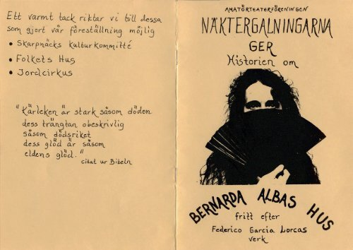 BERNARDA ALBAS HUS, program 8 sidor
