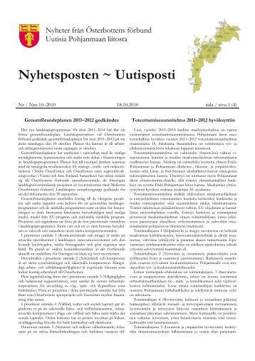 Uutisposti 10/2010 - Pohjanmaan liitto