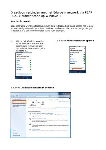Draadloos verbinden met het Eduroam netwerk via PEAP 802.1x ...