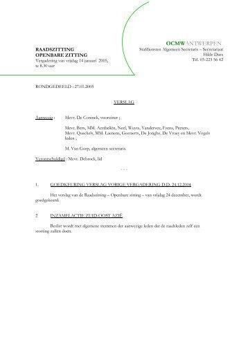verslag - ocmw antwerpen - Stad Antwerpen