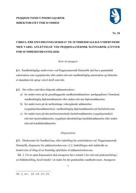 Cirkulære nr. 18 om uddannelseskrav til sundhedsfaglige ...