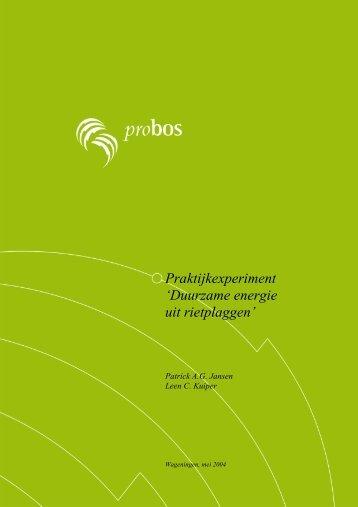 Praktijkexperiment 'Duurzame energie uit ... - Stichting Probos