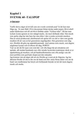 Kapitel 1 SVENSK 60 -TALSPOP FÖRORD