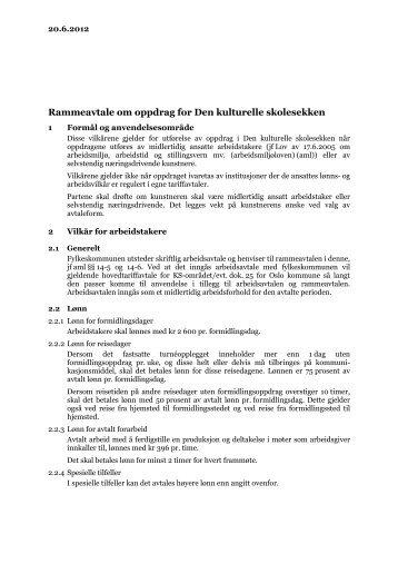 Rammeavtale om oppdrag for Den kulturelle ... - Forfattersentrum