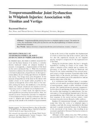 Temporomandibular Joint Dysfunction in Whiplash Injuries ...