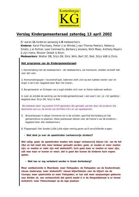 Verslag Kindergemeenteraad zaterdag 13 april 2002