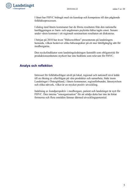 Delårsrapport - Landstinget i Östergötland