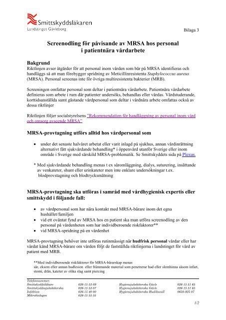 mrsa provtagning stockholm