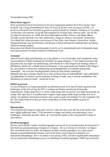 Formandsberetning - Dansk Selskab for Klinisk Onkologi