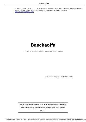 Baeckaoffa - Les Vins d'Alsace