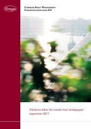 Allmänna villkor för handel med värdepapper september 2011