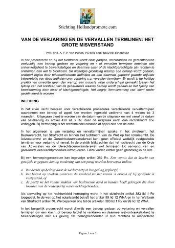 van de verjaring en de vervallen termijnen - HollandPromote.com
