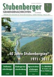 """""""40 Jahre Stubenbergsee"""" 1971 - 2011 Stellenaus"""