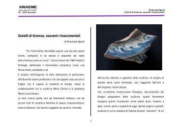 Gioielli di faïences, souvenir rinascimentali - Aracne-rivista.it