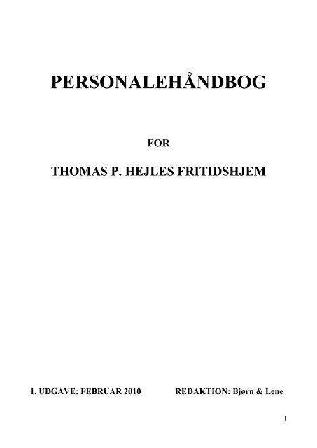 Personale håndbog - Thomas P.Hejles Fritidshjem