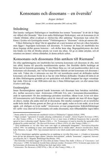 Konsonans och dissonans – en översikt