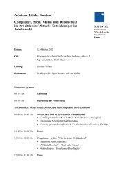 Arbeitsrechtliches Seminar Compliance, Social Media ... - KSB Intax