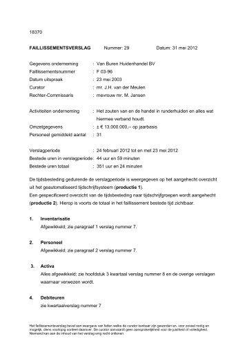 Van Buren Huidenhandel BV Faillissementsnummer - Alderse Baas ...