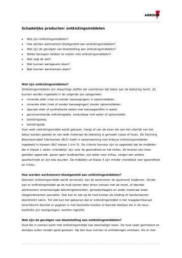Ontkistingsmiddelen: informatie voor arbodienstverleners - Arbouw