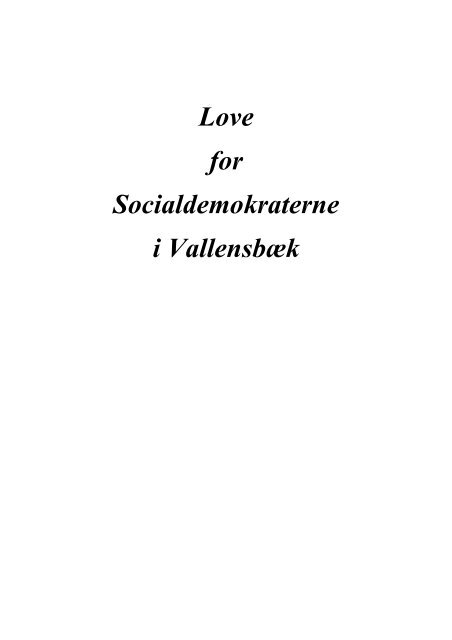 Love for Socialdemokraterne i Vallensbæk