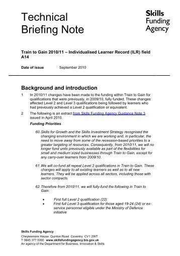 Train to Gain 2010/11 – Technical Briefing Note - lsc.gov.uk